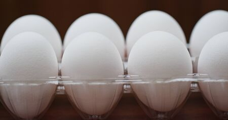 A pack of white chicken egg