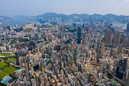 Top view of Hong Kong downtown cityscape