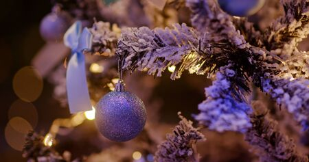 Christmas tree decoration with light in blue color at night Stock fotó