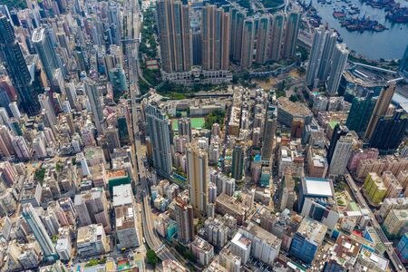 Top view of Hong Kong city Stock fotó