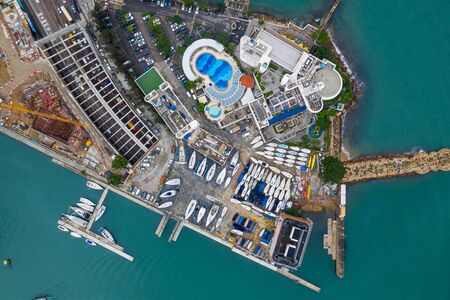 Top view of yacht club