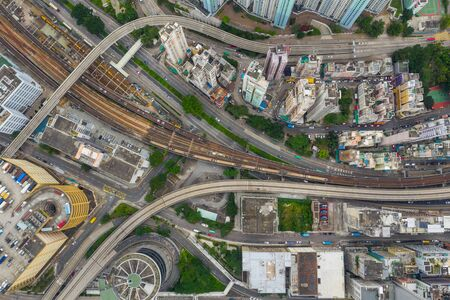 Top down view of Hong Kong traffic