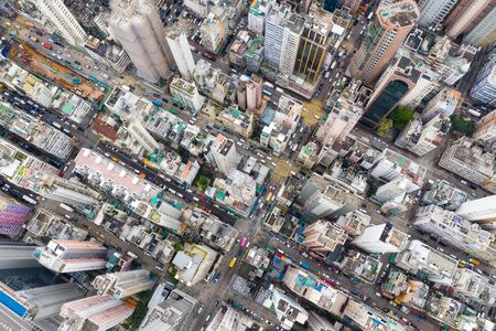 Top view of Hong Kong downtown city in Kowloon side