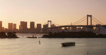 Odaiba city under sunset