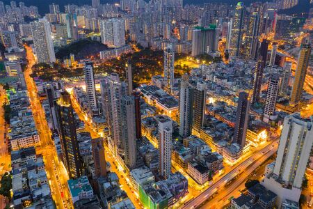 Top view of Hong Kong city at night