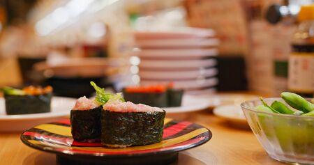 Fresh sushi sashimi in Japanese restaurant