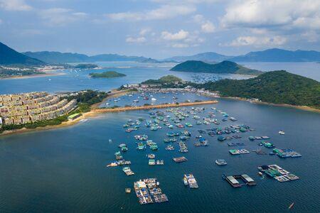 Tai Po, Hong Kong 10 May 2019: top view of Hong Kong tolo harbour