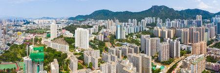 Wong Tai Sin, Hong Kong 12 May 2019: panoramic shot for the city in Hong Kong