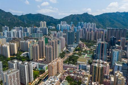 Wong Tai Sin, Hong Kong 12 May 2019: Aerial view of Hong Kong city