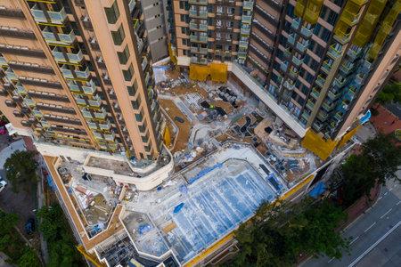 Lei yue man, Hong Kong 22 May 2019: Top view of Hong Kong apartment building under construction