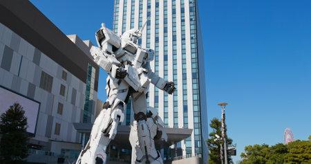 Tokyo, Japan 30 June 2019: Unicorn Gundam statue in Odaiba