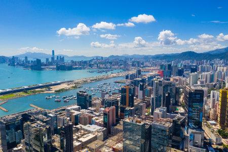 Kwun Tong, Hong Kong 06 September 2019: Drone fly over view of Hong Kong city