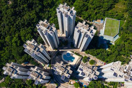 Wong Tai Sin, Hong Kong 21 September 2019: Aerial view of Hong Kong kowloon side Editorial