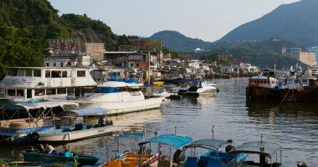 Lei Yue Mun, Hong Kong 29 August 2019: Hong Kong fishing village 版權商用圖片 - 130701716