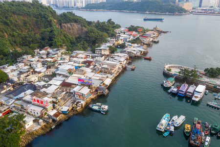 Lei Yue Mun, Hong Kong 22 May 2019: Top view of Hong Kong typhoon shelter 新聞圖片