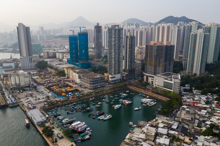 Lei yue man, Hong Kong 22 May 2019: Top view of Hong Kong residential district at the seaside