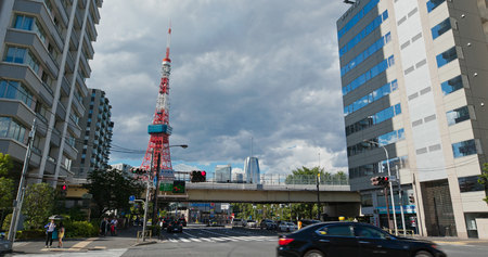 Tokyo, Japan 26 June 2019: Tokyo tower in the city Editöryel
