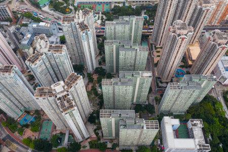 Lok Fu, Hong Kong 17 May 2019: Top view of residential district in Hong Kong