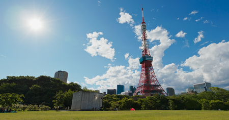 Tokyo, Japan 26 June 2019: Tokyo tower in the park
