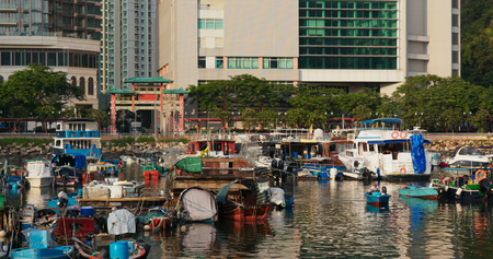 Lei Yue Mun, Hong Kong 29 August 2019: Typhoon shelter in Hong Kong
