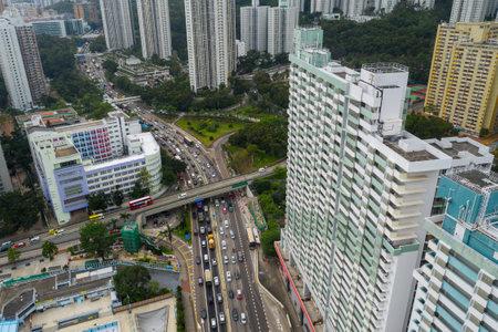 Wong Tai Sin, Hong Kong 17 May 2019: Top view of residential district in Hong Kong