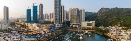 Lei yue man, Hong Kong 22 May 2019: Hong Kong residential district with the sea