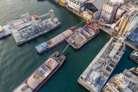 Lei Yue Mun, Hong Kong 22 May 2019: Top view of Hong Kong concrete plant factory