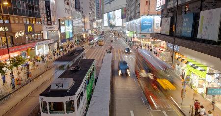 Causeway Bay, Hong Kong 21 May 2019: Hong Kong city street at night