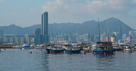 Causeway Bay, Hong Kong , 15 July 2019: Hong Kong harbor, typhoon shelter
