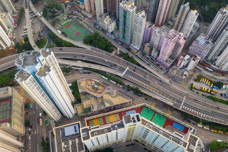 Sai Wan Ho, Hong Kong 28 August 2019: Top view Hong Kong city
