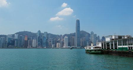 Victoria Harbor, Hong Kong, 07 September 2019: Hong Kong skyline
