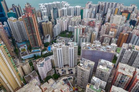 North Point, Hong Kong 01 June 2019: Top view of Hong Kong apartment building