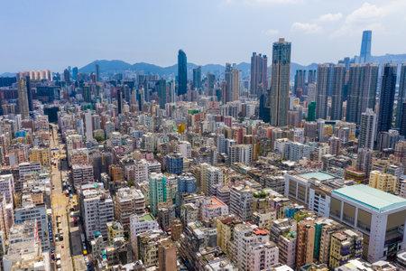 Sham Shui Po, Hong Kong 12 September 2019: Top view of Hong Kong city Editöryel