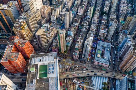 Yau Ma Tei, Hong Kong 25 September 2019: Top view of Hong Kong city
