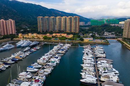 Tuen mun, Hong Kong 16 May 2019: Top view of Hong Kong castle peak bay Editöryel
