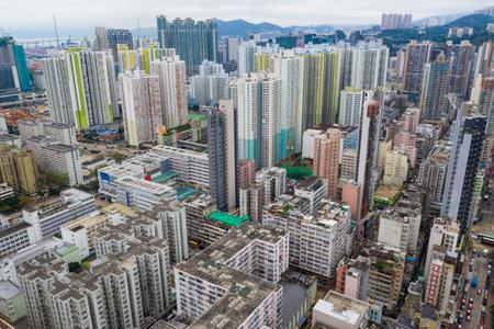 Sham Shui Po, Hong Kong 07 May 2019: Drone fly over Hong Kong urban city Editöryel