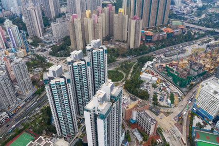 Diamond Hill, Hong Kong 11 April 2019:  Aerial view of Hong Kong residential district Editöryel