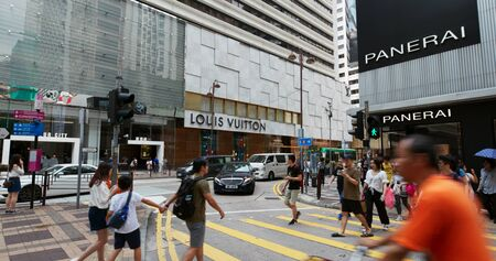 Tsim Sha Tsui, Hong Kong, 07 September 2019: Hong Kong city, people cross the street