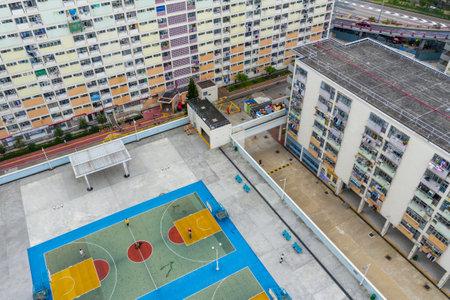 Choi Hung, Hong Kong 17 May 2019: Top view of residential district in Hong Kong