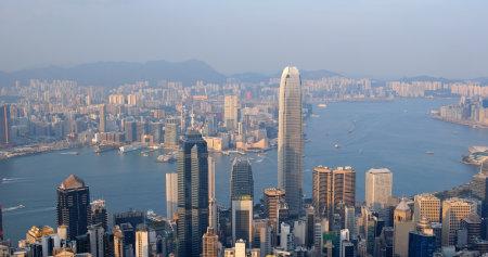Victoria peak, Hong Kong 06 October 2019: Hong Kong landmark at sunset time Editöryel