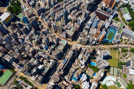 Yau Ma Tei, Hong Kong 10 September 2019: Top view of Hong Kong downtown city