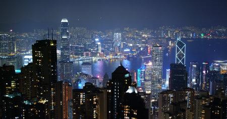 The Peak, Hong Kong 06 October 2019: Hong Kong city at night