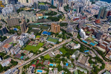 Hung Hom, Hong Kong 10 September 2019: Top view of Hong Kong city skyline Editöryel