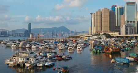 Causeway Bay, Hong Kong 15 July 2019: Typhoon shelter at sunset in Hong Kong Editöryel