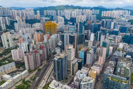 Kwun Tong, Hong Kong 02 June 2019: Aerial view of Hong Kong city Editöryel