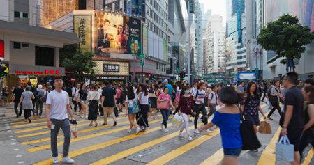 Causeway Bay, Hong Kong 15 July 2019: Hong Kong city street