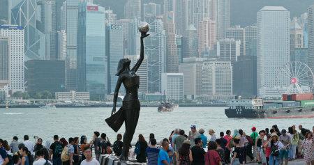 Tsim Sha Tsui, Hong Kong -06July 2019: Hong Kong Film Awards statue at the Avenue of Stars Editöryel