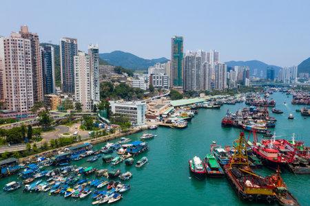 Aberdeen, Hong Kong 12 May 2019: Drone fly over Hong Kong fishing harbor port
