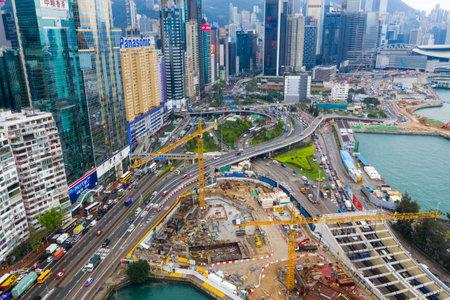 Causeway Bay, Hong Kong 07 May 2019: Top view of Hong Kong island district