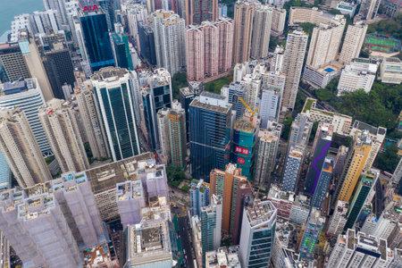Causeway Bay,Hong Kong 07 May 2019: Top view of Hong Kong city Editöryel